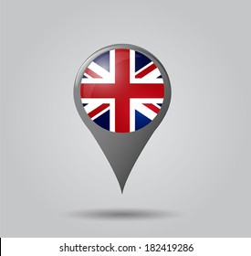 Map pointers with flag and 3D effect on grey background - United Kingdom