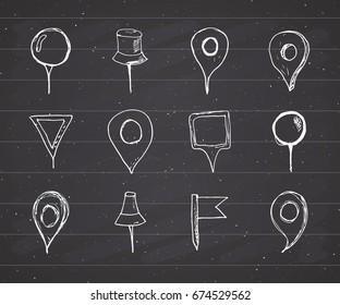 Map pointers hand drawn sketch set, navigation pins doodle vector illustration on chalkboard background.