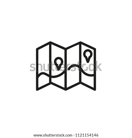 Map Pointers On Brochure Line Icon Stock Vector (Royalty