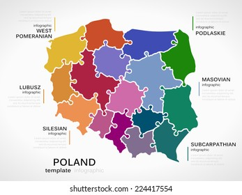 Map of Poland concept template with regions made out of puzzle pieces