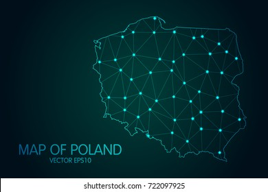 Map of Poland - With glowing point and lines scales on The dark gradient background, 3D mesh polygonal network connections.Vector illustration Eps 10.