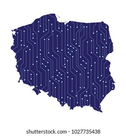 map of Poland, High detailed blue map of Poland. Vector illustration eps 10.