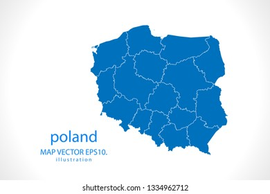 Map of poland - High detailed blue map on white background. Abstract design vector illustration