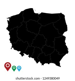 Map of Poland, High Detailed Map of Poland isolated on white background.Vector illustration eps 10