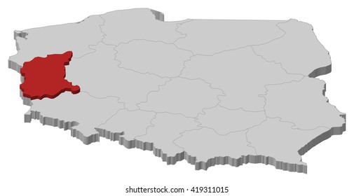 Map - Poland, Lubusz - 3D-Illustration