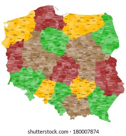 Map of Poland with many details, counties and cities.