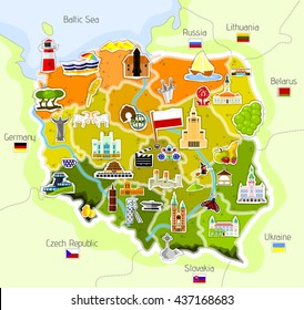 Map of Poland - vector illustration