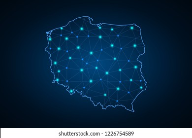 Map of Poland. Wire frame 3D mesh polygonal network line, design sphere, dot and structure. communications map of Poland. Vector Illustration EPS10.