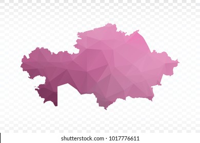 Map polygonal-Kazakhstan map. Multicolored country map in geometric triangle style for your infographics. Vector illustration eps 10.