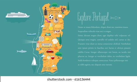 Map of Portugal horizontal article layout vector illustration. Icons with Portuguese landmarks, Barcelos and food