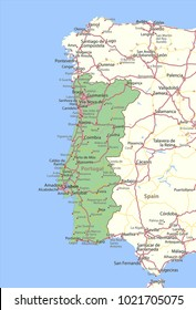 Map of Portugal. Shows country borders, urban areas, place names and roads. Labels in English where possible.Projection: Spherical Mercator.