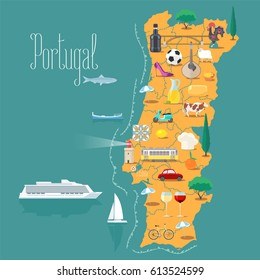 Map of Portugal vector illustration, design. Icons with Portuguese  landmarks, lighthouse and food. Explore Portugal concept image