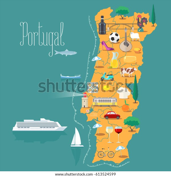 Kort Over Portugal Vektor Illustration Design Lagervektor