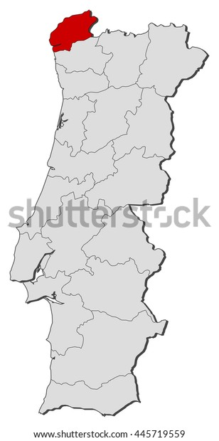 Map Portugal Viana Do Castelo Stock Vector Royalty Free 445719559