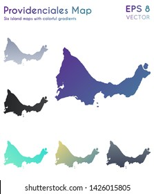 Map of Providenciales with beautiful gradients. Authentic set of island maps. Amusing vector illustration.