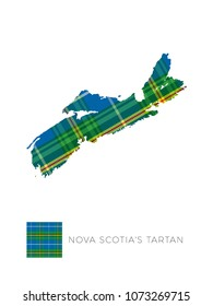 map of province nova scotia in canada filled with pattern of regional tartan and fragment of it on white background