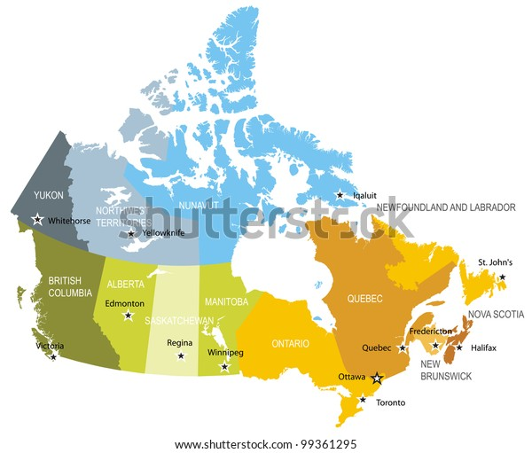 Kanadan Maakuntien Ja Alueiden Kartta Arkistovektori Rojaltivapaa