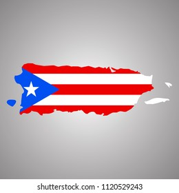 Map of Puerto Rico with flag. Horizontal. Vector EPS 10