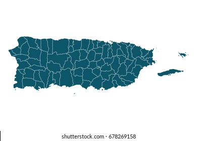 Map of Puerto Rico - High detailed on white background. Abstract design vector illustration eps 10.