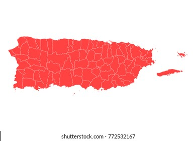 Map of Puerto Rico - High detailed red map on white background. Abstract design vector illustration eps 10.
