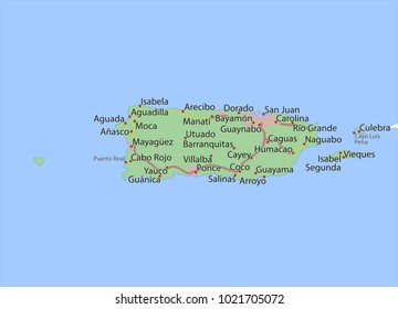Map of Puerto Rico. Shows country borders, urban areas, place names and roads. Labels in English where possible.Projection: Mercator.