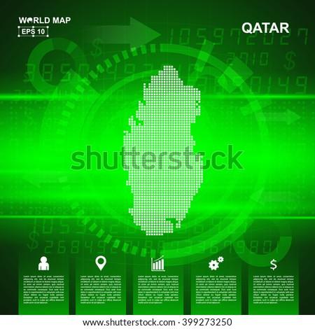 Map Qatar Abstract Green Background Pixel Vector Stock Vector