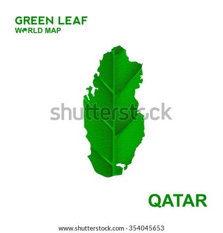 Map Qatar Nature Green Leaf Vector Illustration Stock Vector