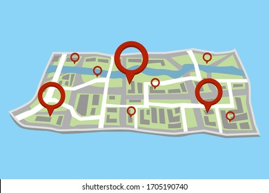 Map with quarters and a river, with red marks in different places. Vector illustration.