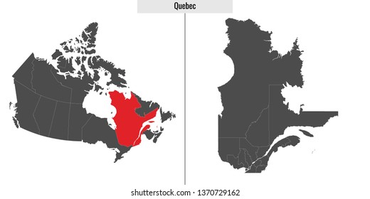 vector illustration of Quebec map with Canada flag