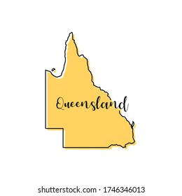 Map of Queensland - Australia vector design template. Editable Stroke