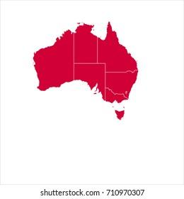 map red of australia vector illustration eps10.