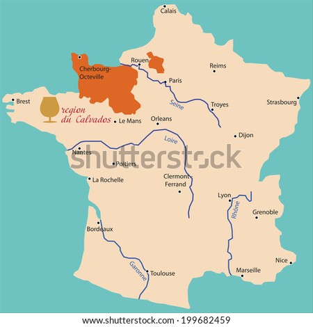 Map Region Calvados France Stock Vector (Royalty Free) 199682459