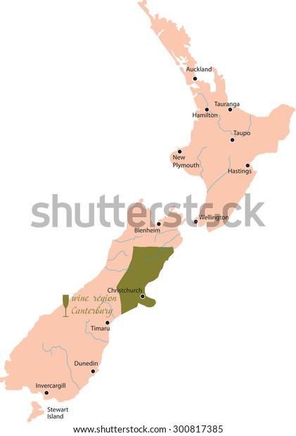 Map Of Canterbury New Zealand.Map Region Canterbury New Zealand Stock Vector Royalty Free 300817385
