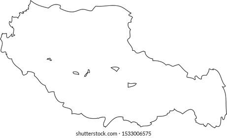 Map region China - Tibet Autonomous. Vector