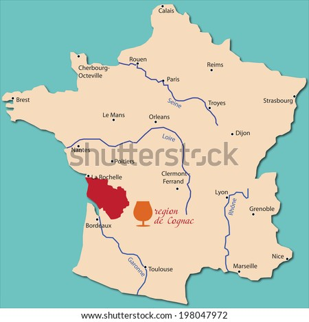 Map Region Cognac France Stock Vector (Royalty Free) 198047972