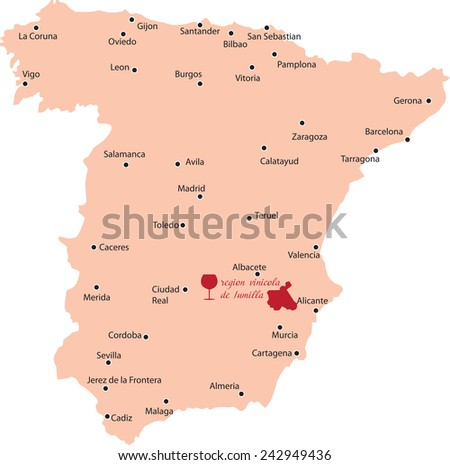 Map Region Jumilla Spain Stock Vector Royalty Free 242949436