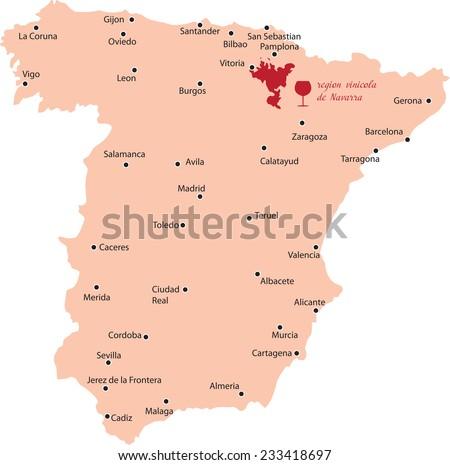 Map Region Navarra Spain Stock Vector Royalty Free 233418697