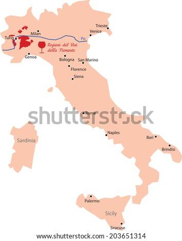 Map Region Piemonte Italy Stock Vector Royalty Free 203651314