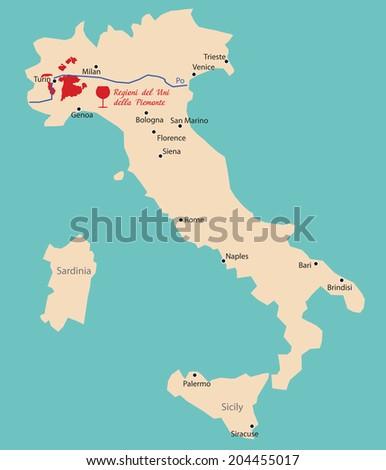 Map Region Piemonte Italy Stock Vector Royalty Free 204455017