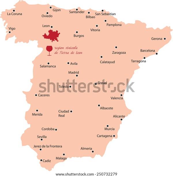 Map Of Spain Leon.Map Region Tierra De Leon Spain Stock Vector Royalty Free 250732279