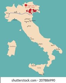 map region of veneto in Italya