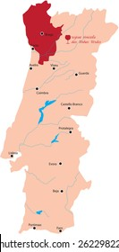 map region of vinhos verdes in Portugal