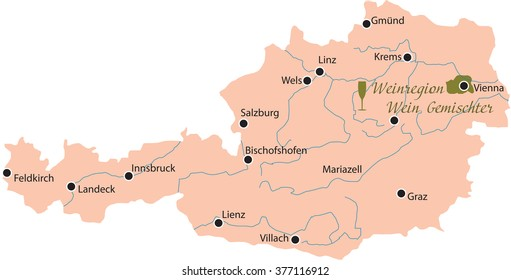 map region of wein gemischter in austria