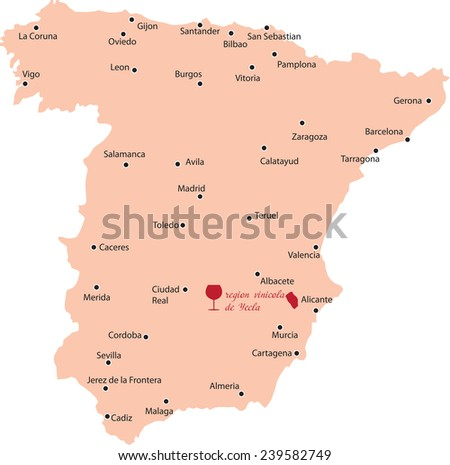 Map Of Yecla Spain.Map Region Yecla Spain Stock Vector Royalty Free 239582749