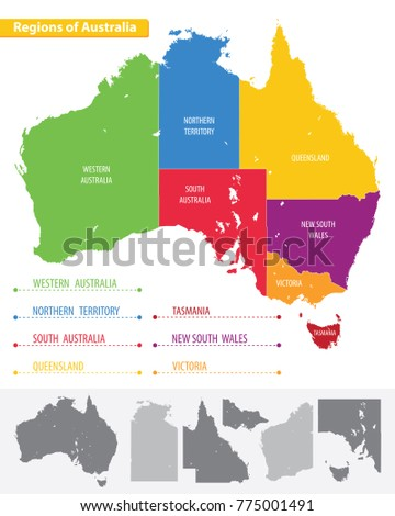 Australia Map Regions.Map Regions Australia Stock Vector Royalty Free 775001491