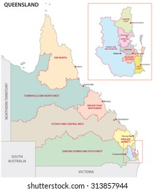 map of regions of Queensland