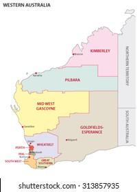 map of regions of Western Australia