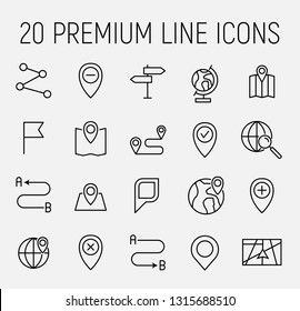 Map related vector icon set. Well-crafted sign in thin line style with editable stroke. Vector symbols isolated on a white background. Simple pictograms.