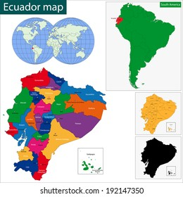 Map of the Republic of Ecuador with the regions colored in bright colors and the main cities