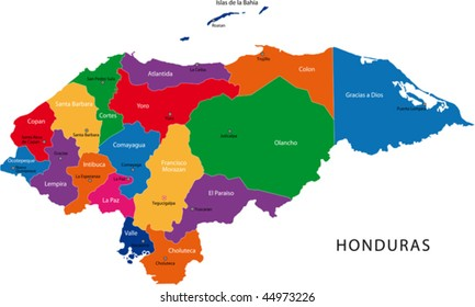 Map of the Republic of Honduras with the departments colored in bright colors and the main cities